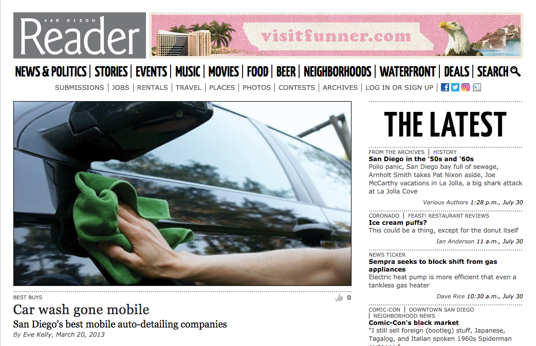DetailGreenUSA featured in the San Diego Reader #cardetailing